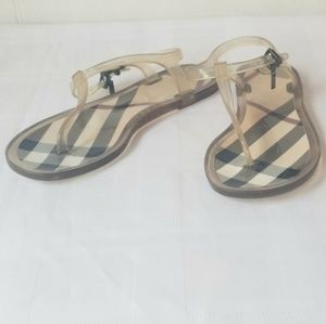 BURBERRY JELLY CLEAR SLINGBACK THONG SANDALS